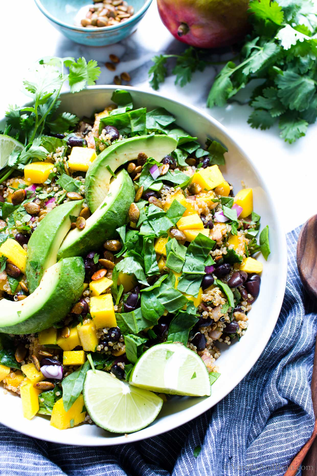 Quinoa Mango Salad in a serving bowl ready for sharing