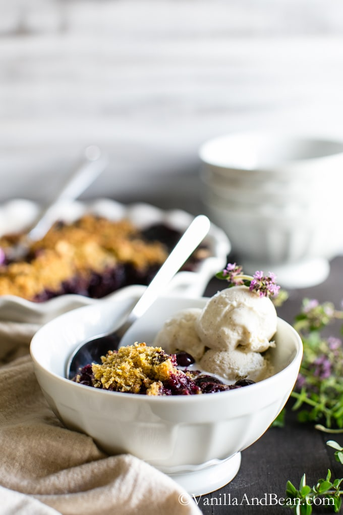 Blueberry Lemon-Thyme Cornmeal Crisp #GlutenFree | Blueberry Crisp