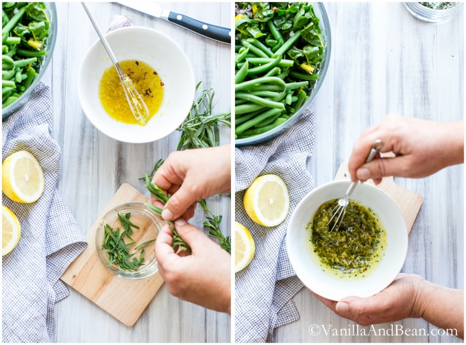 Picking out the tarragon leaves from its stem and placed in a small glass bowl. The dressing is mixed in a white bowl with a wire whisk.