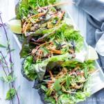 Thai Lentil Lettuce Wraps with Miso Sriracha Peanut Sauce