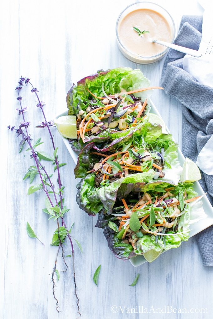 Thai Lentil Lettuce Wraps with Miso Sriracha Peanut Sauce #Vegan #Vegetarian | Vanilla And Bean