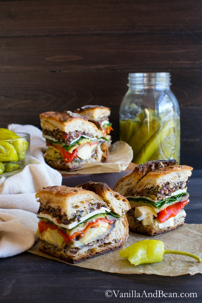 Vegetarian or Vegan, this sandwich is easy to make, feeds a small crowd and packs up for lunches, picnics or tailgating with ease   Italian Pressed Sandwich   Vanilla And Bean