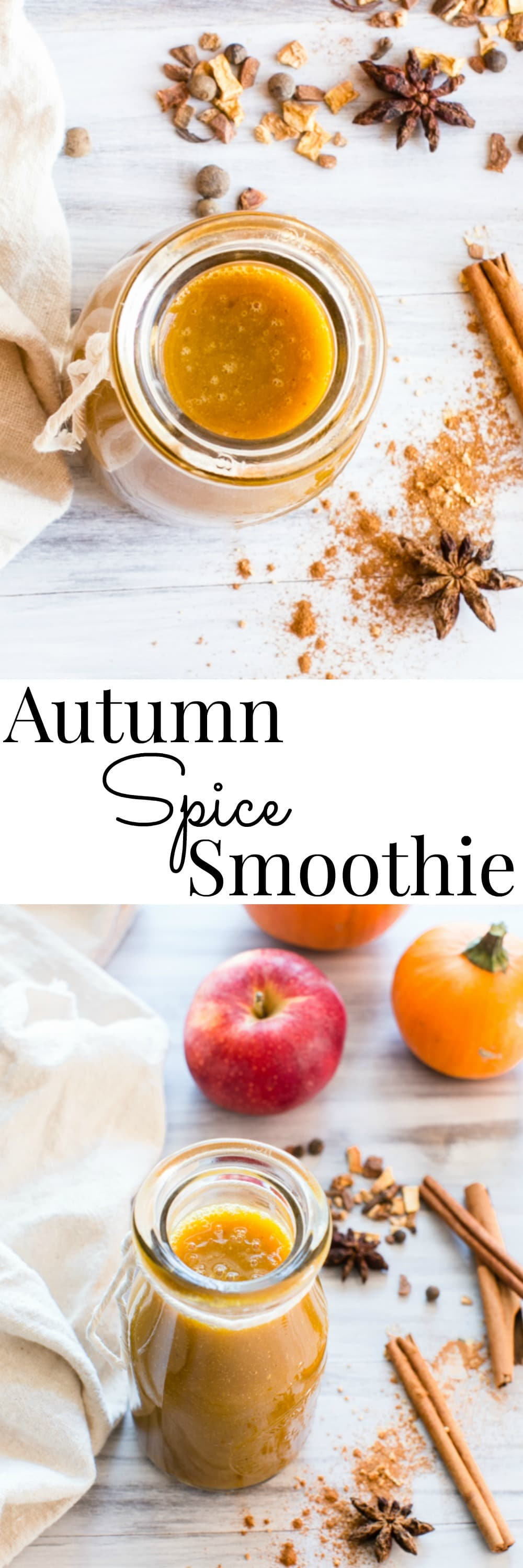 Apple cider and Rooibos tea pairs with pumpkin and spices, apple and banana to create a warm or chilled Fall smoothie   Autumn Spice Smoothie   Vanilla And Bean