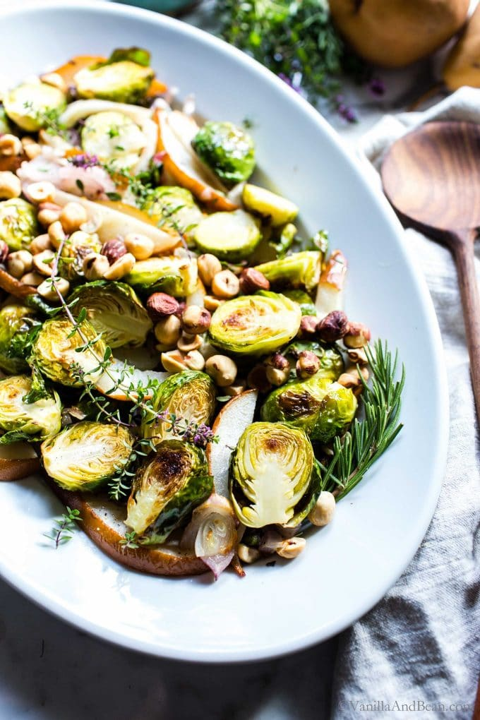 Roasted Brussels Sprouts Recipe and Pear with Thyme