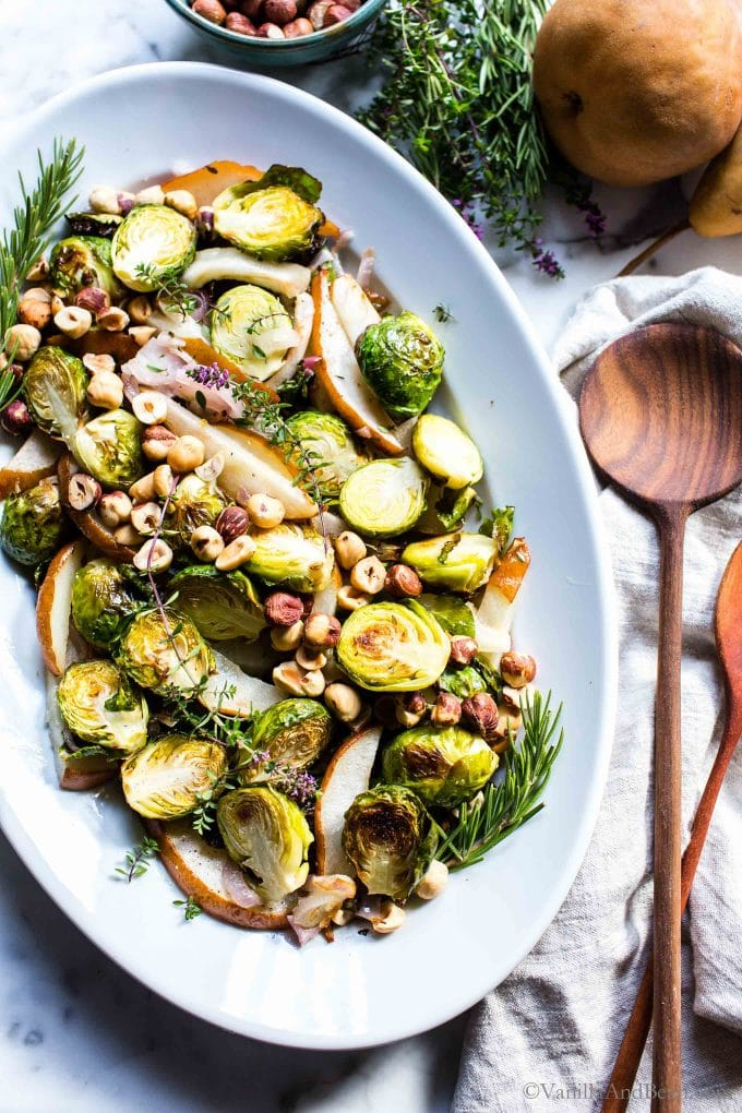 Roasted Brussels Sprouts Recipe on a platter ready for serving.