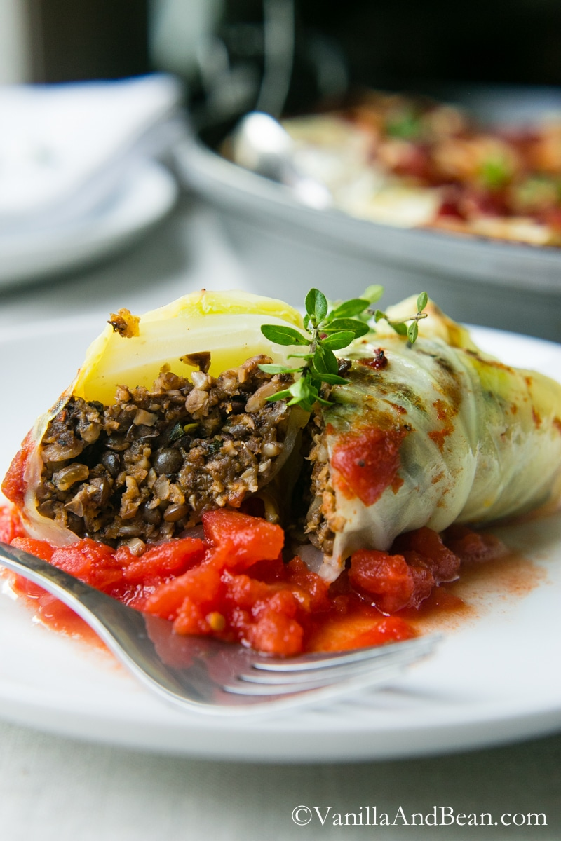 A closeup view of the inside of Mushroom Stuffed Cabbage Rolls.
