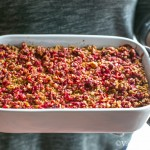 Apple Walnut Baked Oats with Date Butter and Cranberry Crumble