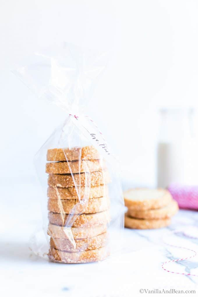 Bourbon Cookies in a bag ready for gifting.