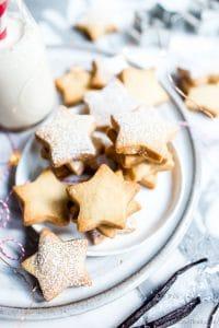 Vanilla Bean Shortbread Cutout Cookies on a plate.
