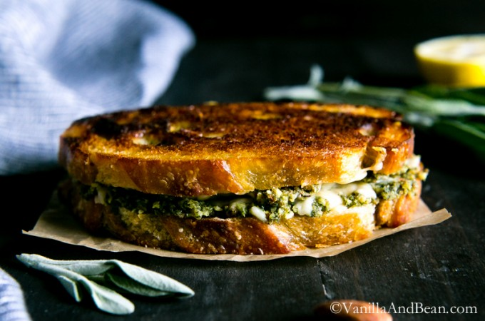 20 minutes for this flavor-packed, grown-up grilled cheese; Almond-Sage Pesto Grilled Cheese with Gruyere | Vanilla And Bean