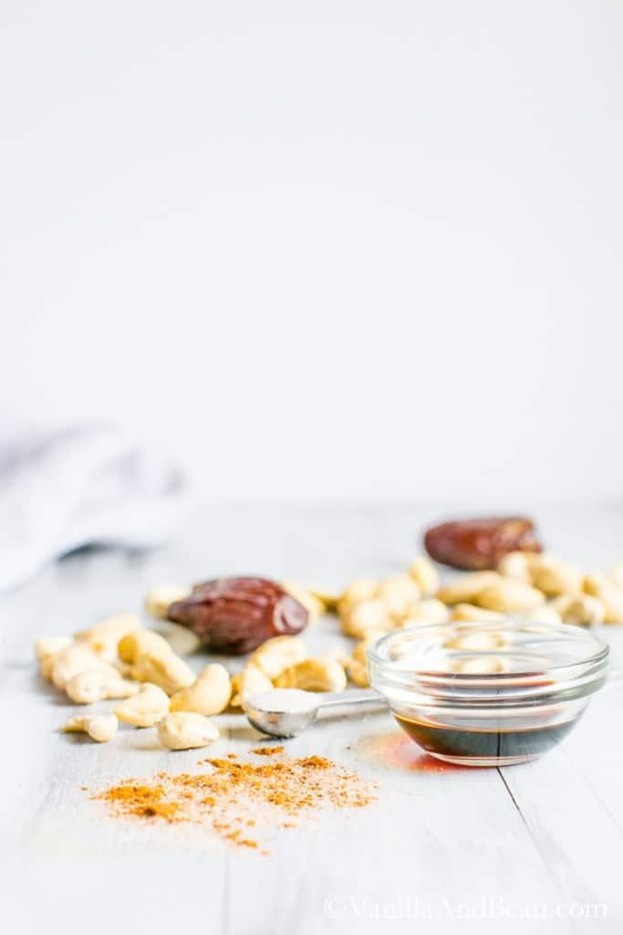 Ingredients for homemade cashew milk recipe.