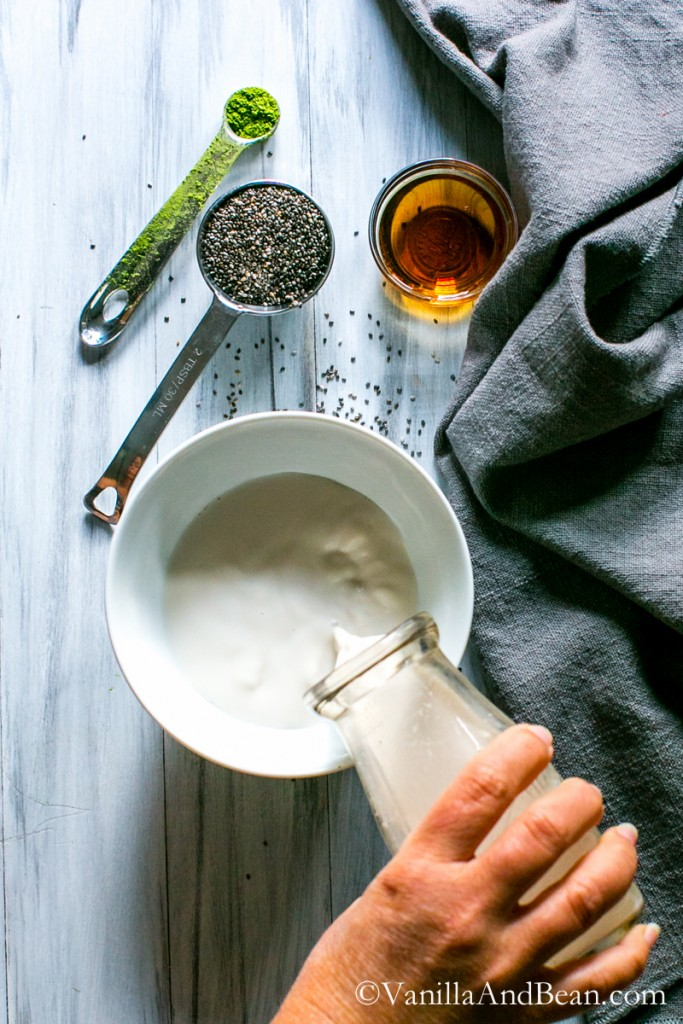 10 minute quick, easy, nourishing, grab and go breakfast. Matcha Chia Pudding | Dairy Free, Vegan | Vanilla And Bean
