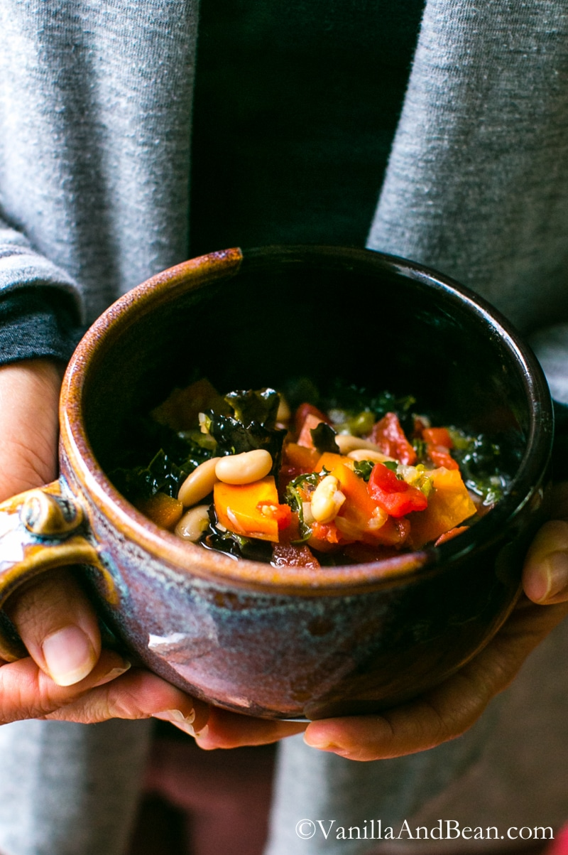 Quick and easy, a nourishing Italian Soup with white beans and kale. Vegan + GF   Vanilla And Bean