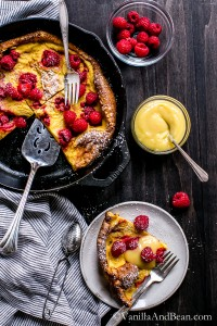 A fast and fun breakfast for create! Lemon Raspberry Dutch Baby with Lemon Curd | Vanilla And Bean