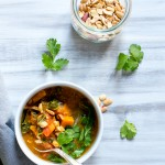 Sweet Potato Peanut Chipotle Soup with Wilted Greens | Vanilla And Bean