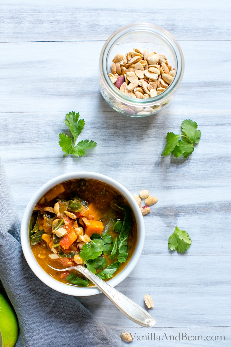 sweet potato peanut chipotle soup with wilted greens vanilla and