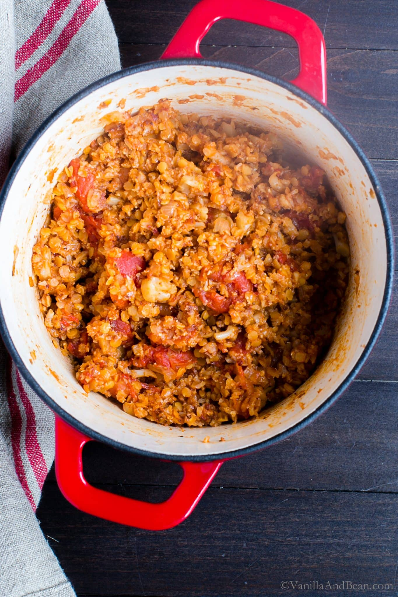 Cauliflower Bolognese with Lentils