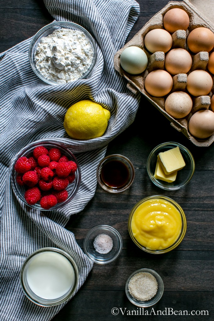 A fast and fun breakfast to create! Lemon Raspberry Dutch Baby with Lemon Curd | Vanilla And Bean