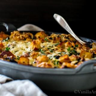 Kale, Mushroom and Leek Savory Bread Pudding | Vegetarian | Vanilla And Bean