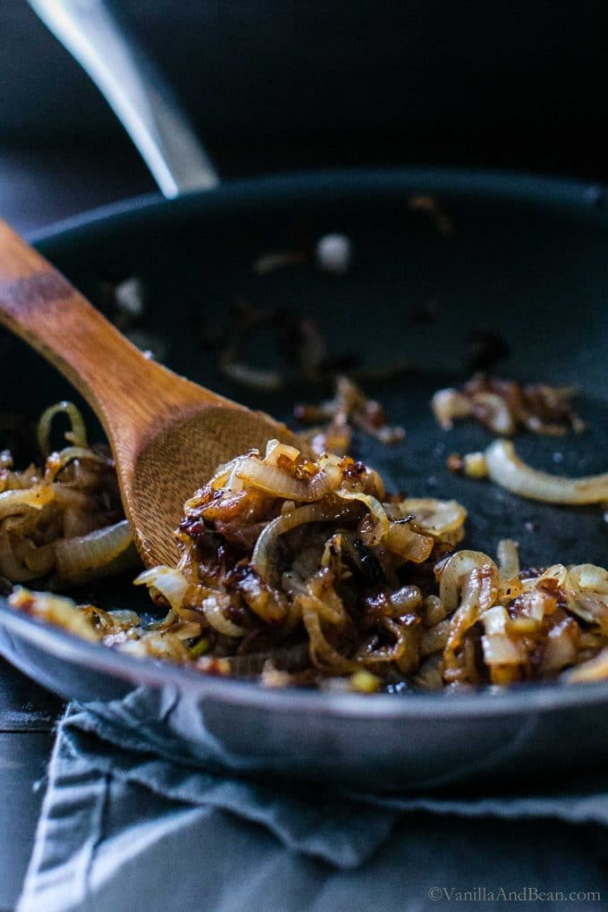Caramelized onion in a pan.