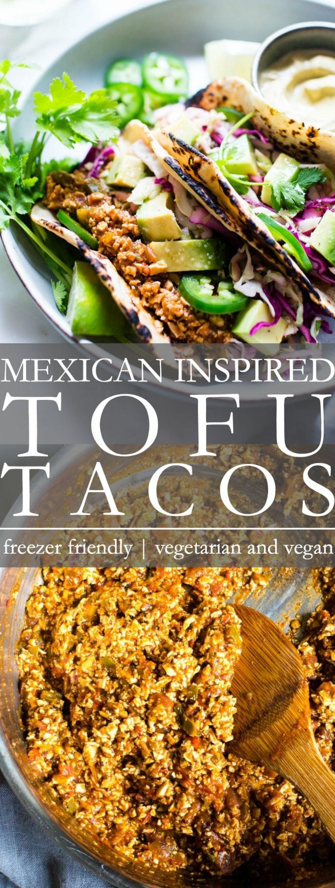 Tofu Tacos on a plate with Pumpkin Seed Cream ready to be shared Pinterest Pin