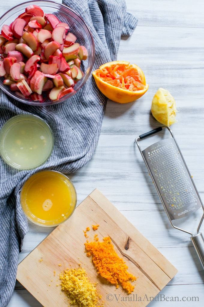 Preparing the orange and lemon juice and zest for Maple-Rhubarb Conserve