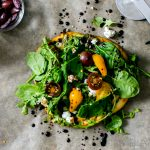 Flatbread Salad Pizza with Pesto, Shaved Asparagus, Mushrooms and Feta