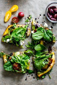 Flatbread Pizza Salad with Pesto, Shaved Asparagus, Mushrooms and Feta