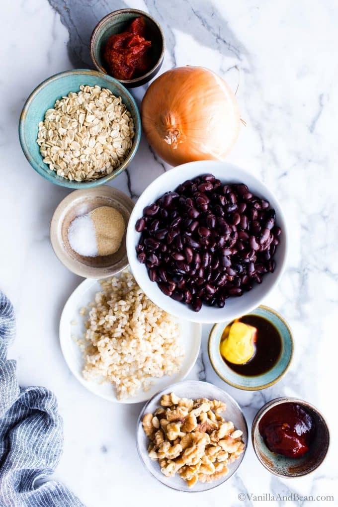 Ingredients for black bean walnut burgers.
