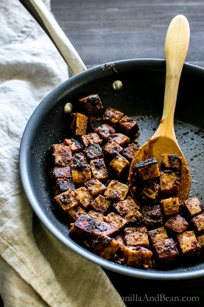 Spicy Peanut Tofu in a pan.