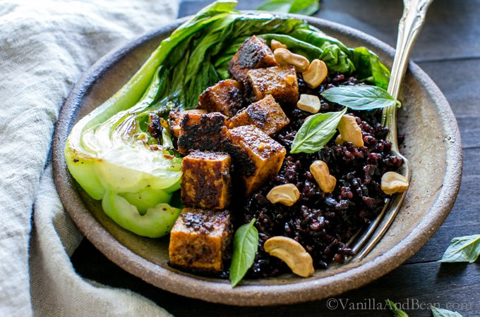 Spicy Peanut Tofu Bowl with Coconut Forbidden Rice