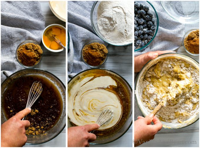Mixing the dry ingredients, then wet, then adding the wet into the dry for the blueberry coffee cake.