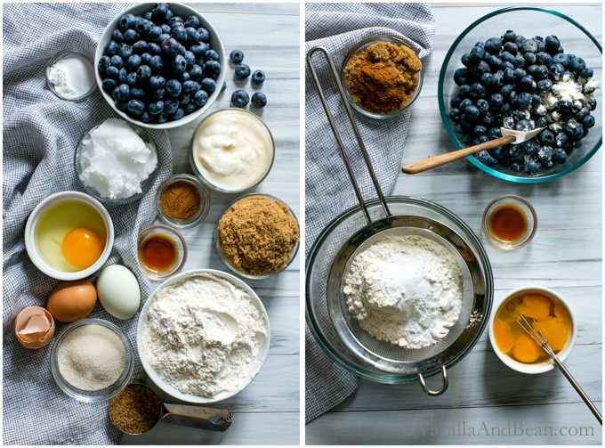 Ingredients for Blueberry Cinnamon Yogurt Coffee Cake and mixing the dry ingredients and blueberries.