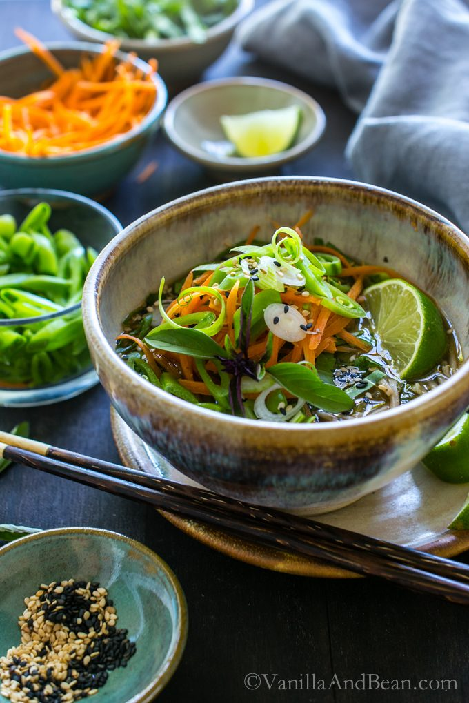 Warming and cozy, Ginger Miso Soba Noodle Bowls with Wakame ready for sharing.