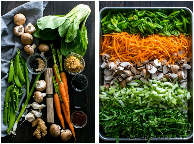 Overhead shot of ingredients for Ginger Miso Soba Noodle Bowls with Wakame whole and chopped.