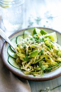 Avocado Jicama Cucumber Salad in a bowl ready for sharing.