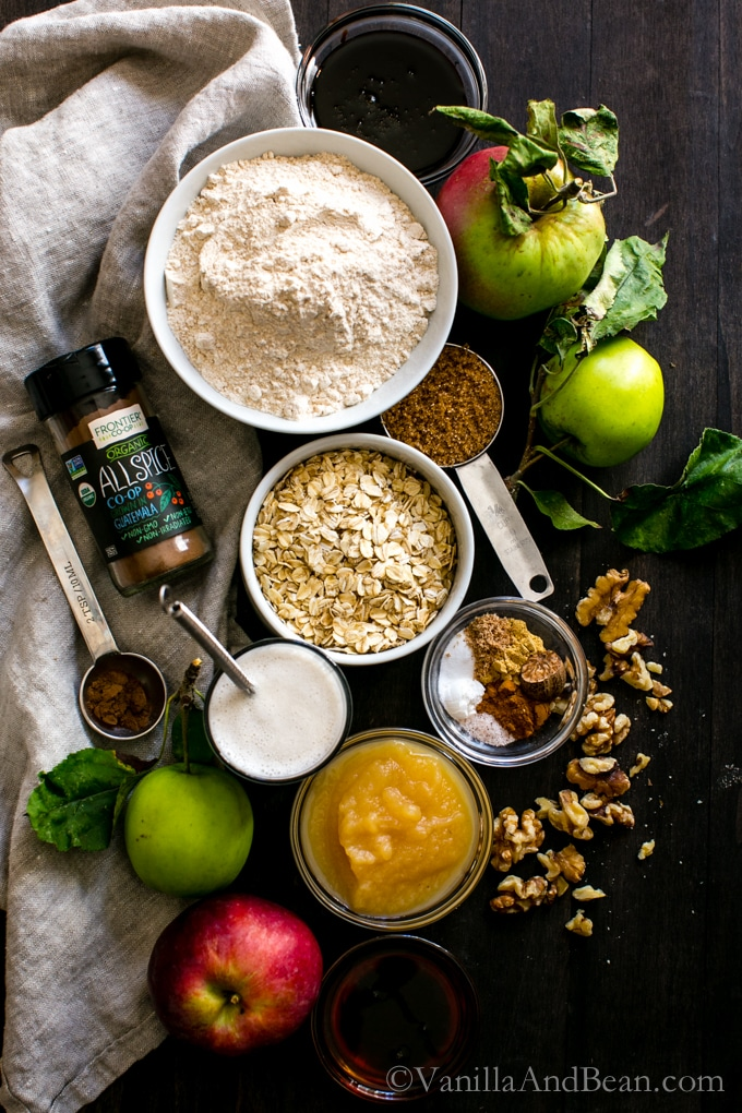 Ingredients for Vegan Apple Gingerbread-Oat Walnut Muffins with Brown Sugar Streusel.