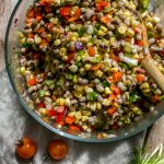 The sweet corn balances out the heat of the chiles in this versatile Black-Eyed Pea Corn Salad with Tomatoes and Chiles recipe. Make ahead for meal prep and enjoy as is or add greens or gains to suit your tastes. Vegan + Gluten Free