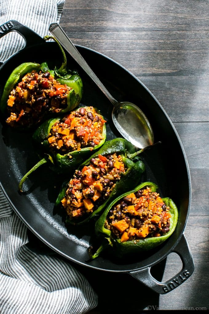 Vegan Stuffed Poblano Peppers in a serving platter.