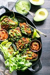 Vegetarian Stuffed Peppers in a serving platter.