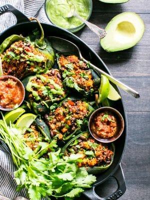 Vegetarian Stuffed Peppers in a serving platter.