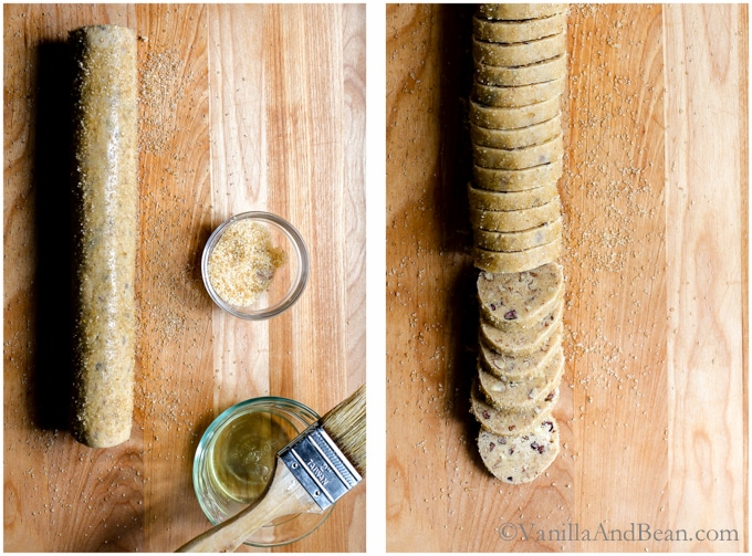 Rolling the cookie dough into a log and cutting the cookies into discs.