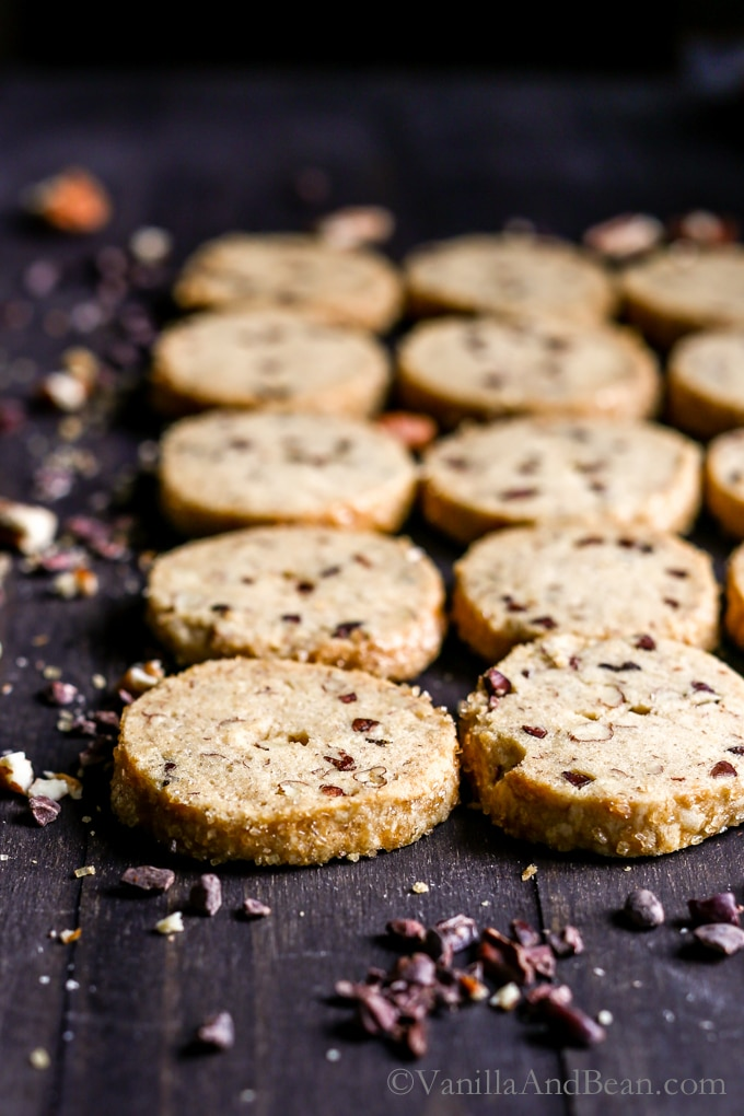 Cocoa Nibby Pecan Shortbread Cookies lined up and ready for sharing.
