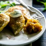 Vegan or Vegetarian! For holidays or special occasions, Potato, Mushroom and Pea Pierogies are pure comfort food that makes a filling main course. Serve with caramelized onions, sour cream and a hearty salad. Thanksgiving, Christmas.