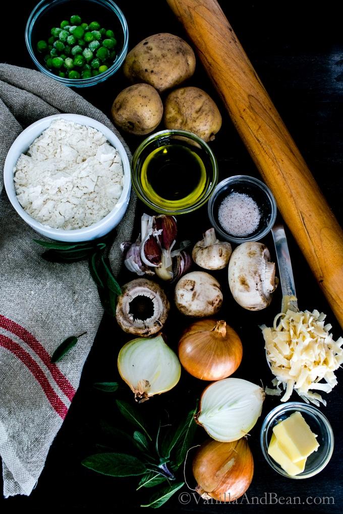 Potato, Mushroom and Pea Pierogies ingredients.