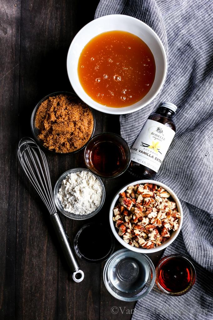 Overhead shot of Vegan Bourbon Pecan Pie ingredients.