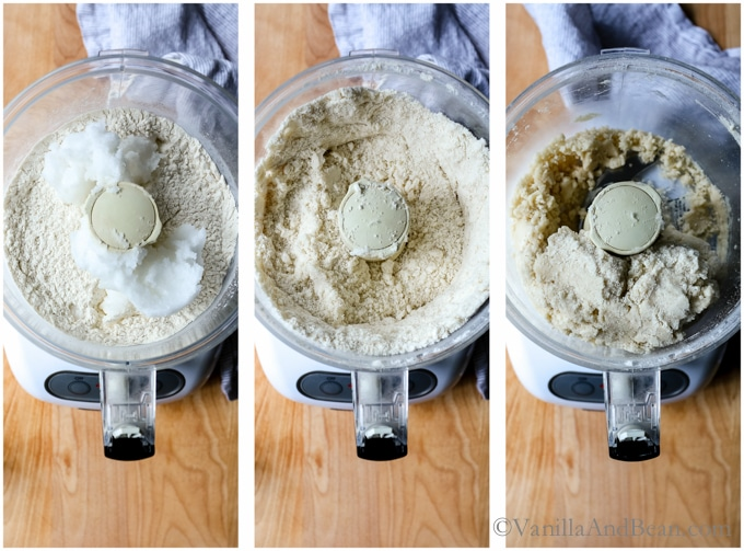 Making homemade coconut oil pastry in a food processor, from whole ingredients to processed, an series of three images.