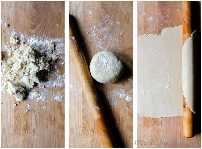 A series of three images from the dough just processed, to a shaped round, to rolling out the dough.