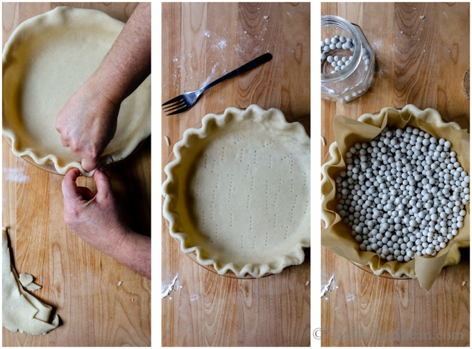 Crimping the edges in a pie plate, docking the dough and adding parchment and pie weights. Ready to bake!