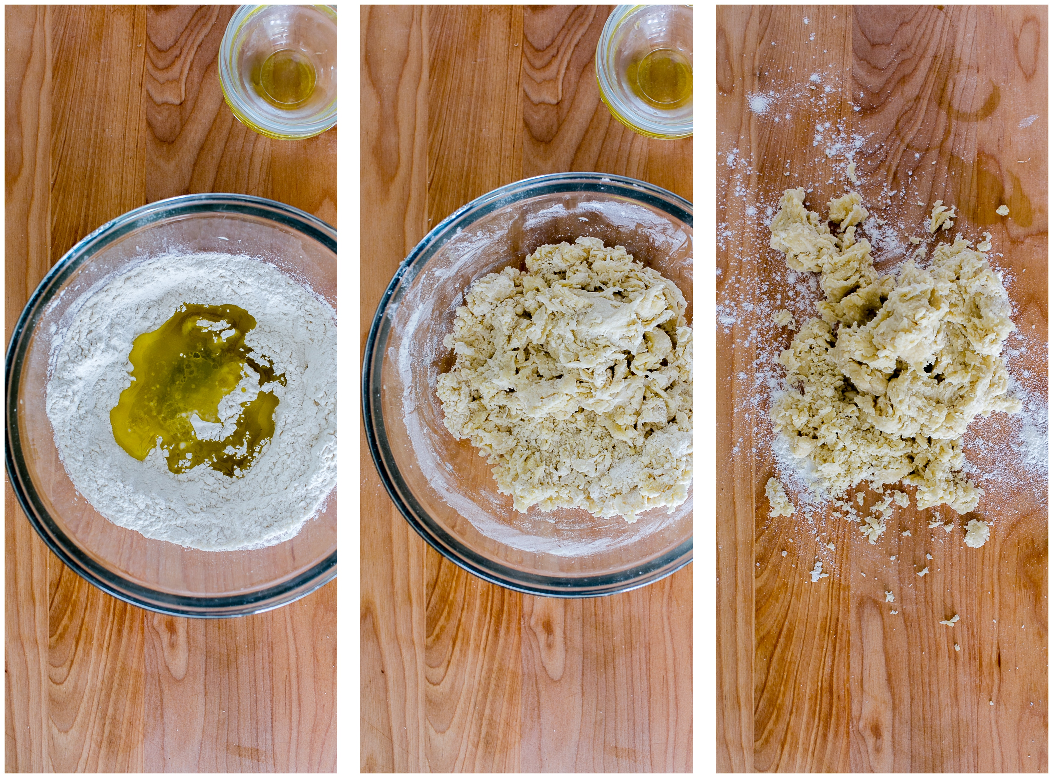 Mixing dry ingredients for the peroigie dough.